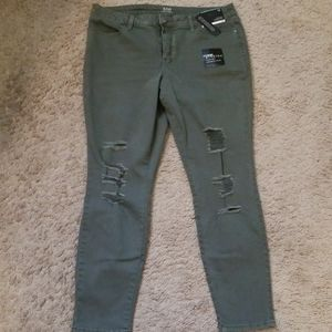 Olive Destructed Extreme Stretch Jeans